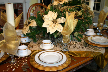 Gold and cream place setting for Christmas