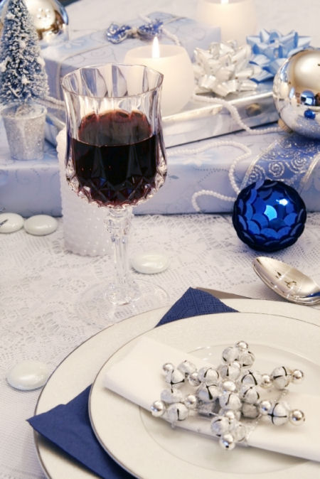 Christmas place setting blue